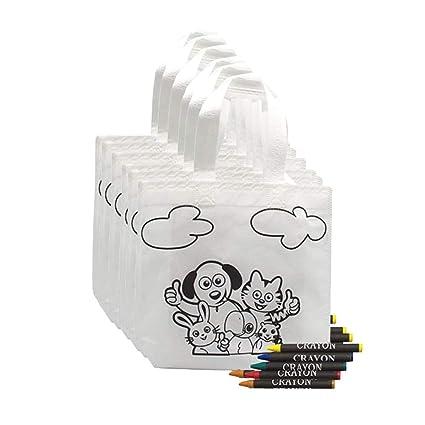 Fun Fan Line® - Lote 20 Bolsas para Colorear Ideal para Regalos de cumpleaños, comuniones, colegios, guarderías y Celebraciones. Bolsas Merienda y ...