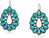 Western Inspired Pear Shape Turquoise Color Cabochon with Antiqued Silver Tone Metal Earrings