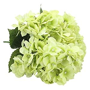 Duovlo Artificial Silk Hydrangea Flower with 6 Heads Flower Bunch Bouquet Home Wedding Garden Floral Decor (Green) 53