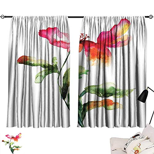 Abeocg Decor Curtains Watercolor Flower Shaded Single Poppy Flowering Plant Muse in The Nature Earth Divine Grace Simple Style W55 xL63 Red Green White