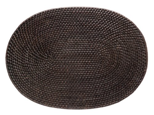 Kouboo, Laguna Handwoven Oval Rattan Placemat, 17.5 x 12.5 inch, Espresso Brown (Rattan Oval)