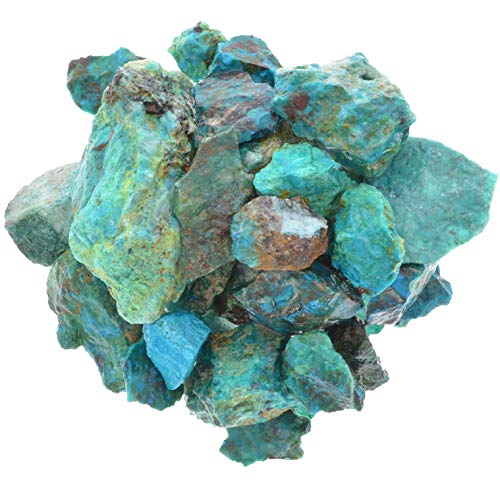 Digging Dolls: 1 lb of Chrysocolla Stones from Peru - Raw & Natural Rough Rocks - Perfect for Tumbling, Wire Wrapping, Polishing, Jewelry Making and Crafts! ()