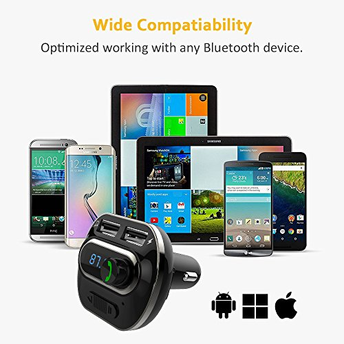 FM Transmitter, Bcway Wireless Radio Adapter Bluetooth Car Kit MP3 Player, 5V/3.1A Dual USB Ports Car Charger, Support TF Card + U Disk, Hands Free Calling for iPhone, Samsung, etc by AYY (Image #9)