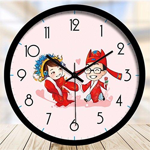 Imoerjia Wall Clock Ancient Costume Couples Cartoon Clocks Bedroom Decor Mute Wall Clock 12 Inches -
