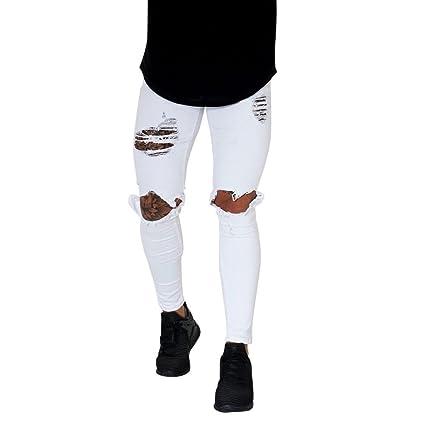 08b3dcb1c5 Pantalones Hombres Vaqueros Originales Rotos Casuales Motocicleta Pantalones  Slim Agujero Elasticos Streetwear Moda Pantalón STRIR (
