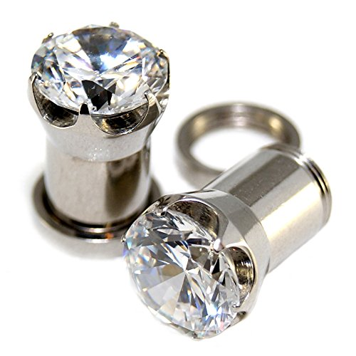 0G = 8mm Steel Clear Solid CZ Screw-on / fit Plugs Prongs Setting Ear Retainers 1 Pair (Plugs Solid)