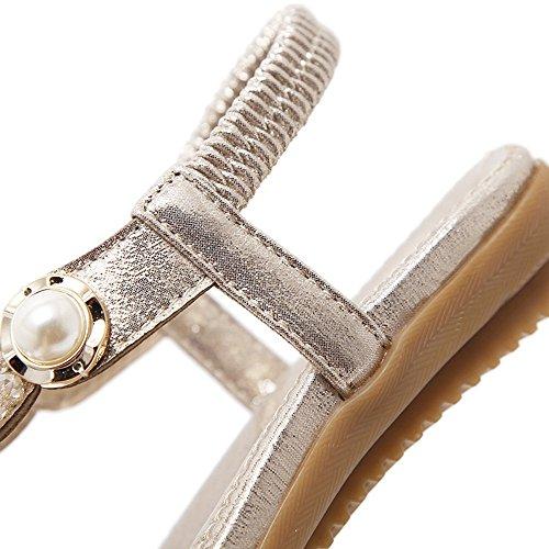 des Plates Femmes Femmes Lacitena d'été Perle Sandales Or Mode Cristal en Sandales de des Plates de Perle UUPHX