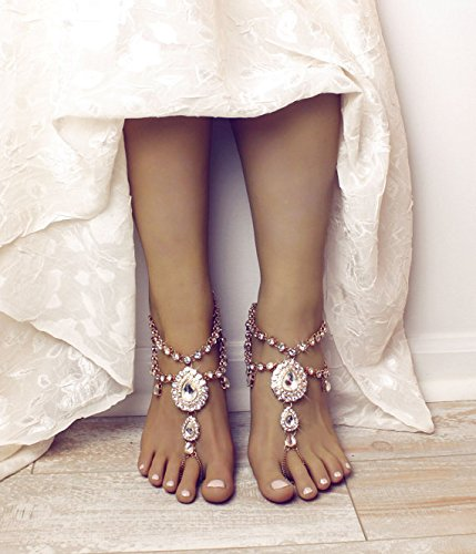 Aida Barefoot Sandals in Gold