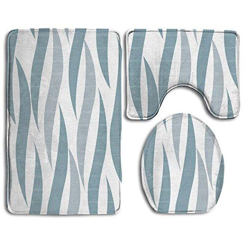 (Bath Mat,3 Piece Bathroom Rug Set,Blue Gray Stripe Flannel Non Slip Toilet Seat Cover Set,Large Contour Mat,Lid Cover For Men/Women)