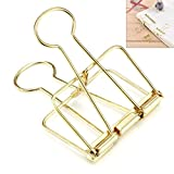 Anmas Home 30PCS Wire Binder Clip Hollow Paper Photo Clip Assorted Size For Office Home (Gold)