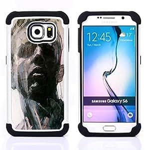 """Samsung Galaxy S6 / SM-G920 - 3 en 1 impreso colorido de Altas Prestaciones PC Funda chaqueta Negro cubierta gel silicona suave (Retrato del hombre Arte Pintura Piensa"""")"""