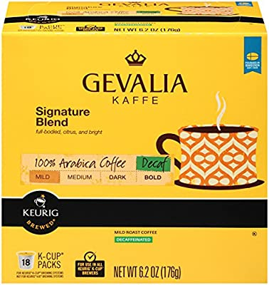 Gevalia Signature Blend Decaf Coffee, Mild Roast, K-Cup Pods, 18 Count (Pack Of 4)