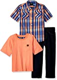 American Hawk Little Boys' 3 Piece Plaid Sport Shirt, T-Shirt Or Creeper, and Jean Set, Multi Plaid, 5