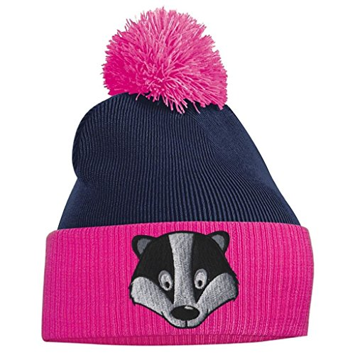 and Fuschia Beanie Tidy Navy Clothing French Face Pom Pom Badger Bang FW488