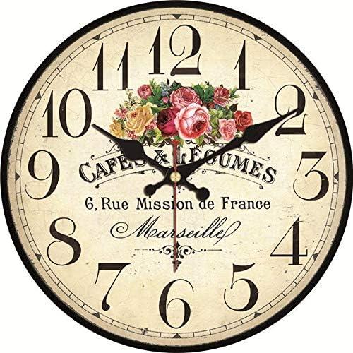 Fleur Ronde Horloge Murale D/écor /À La Maison Salon 15cm Fleur Horloge Murale 22 SQSHWL Cuisine Moderne Style en Bois en Carton Horloge
