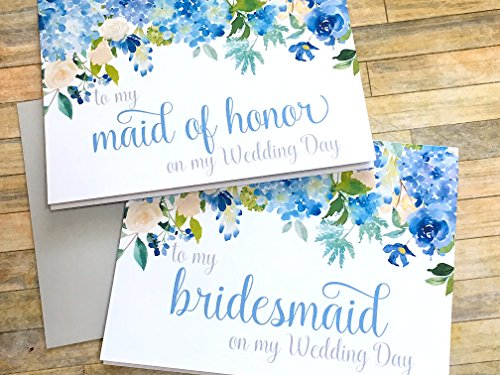 thank you for being my bridesmaid card - wedding day - blue hydrangea