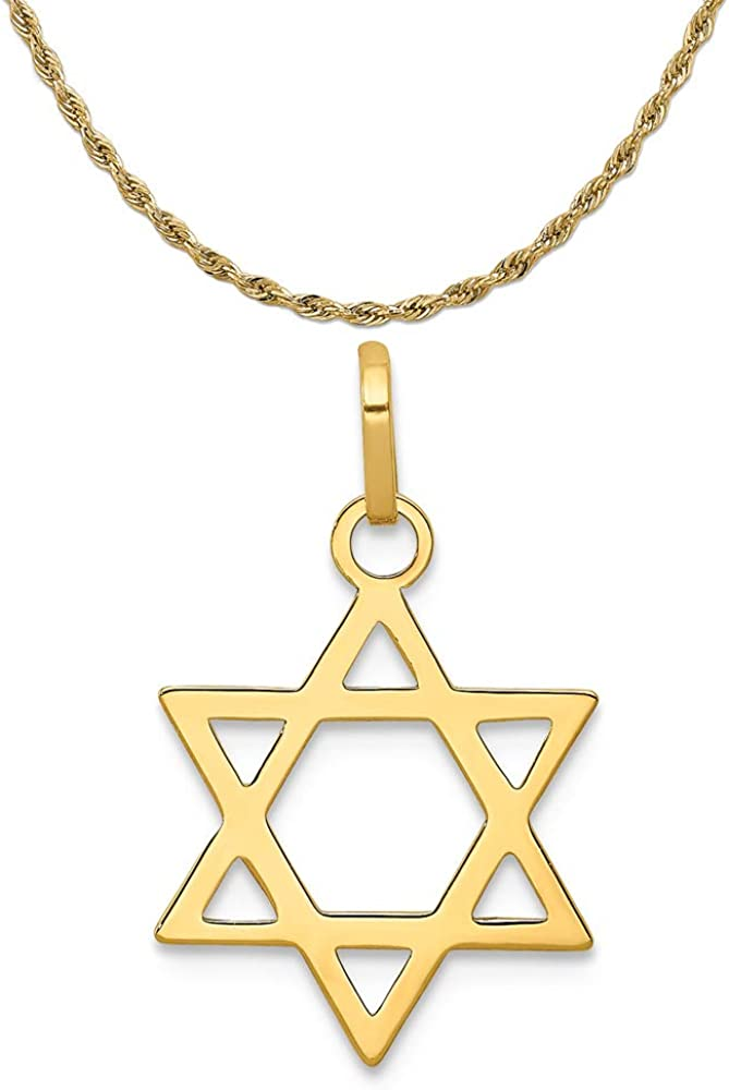 Mireval Sterling Silver Star of David Charm on a Sterling Silver Chain Necklace 16-20