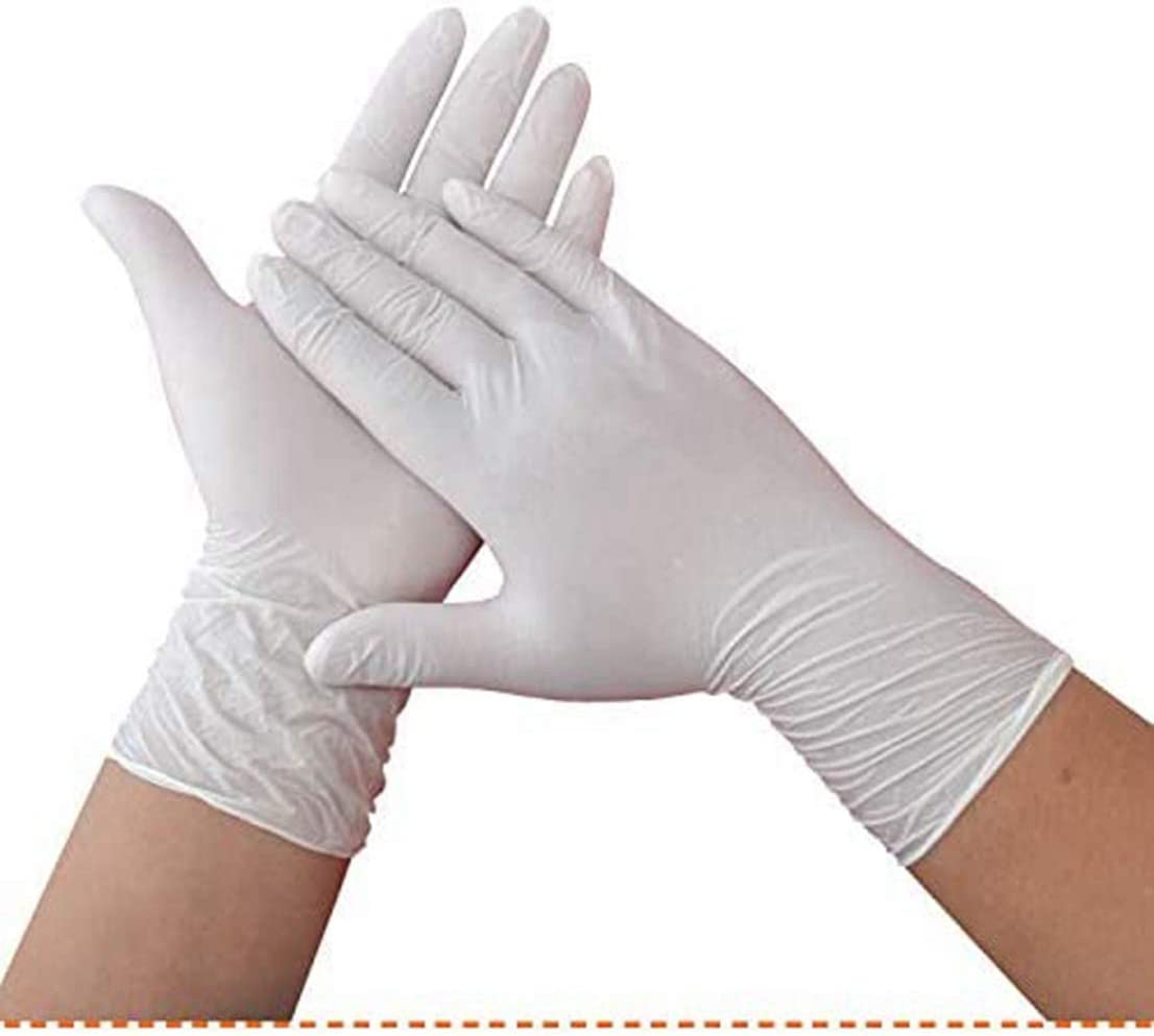 100 Pcs Nitrile Disposable Gloves Multi-Purpose Latex Free Safety Work Gloves Industrial Rubber Gloves L, White