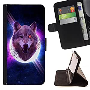 - Wolf Space - - Style PU Leather Case Wallet Flip Stand Flap Closure Cover FOR Sony Xperia Z1 Compact D5503 - Devil Case -
