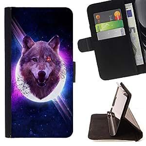 Dragon Case- Caja de la carpeta del caso en folio de cuero del tir¨®n de la cubierta protectora Shell FOR Samsung Galaxy S6 G9200- Wolf Space