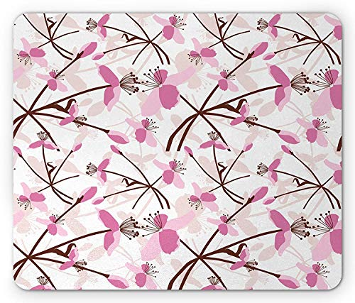 Bestsock Gaming Mouse Mat/Pad, Floral Mouse Pad, Overlapping Pink Tone Flowers with Intertwined Stems Shadow on White, Standard Size Rectangle Non-Slip Rubber Mousepad, Pale Pink Brown Pale Peach