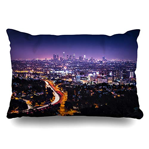 Ahawoso Throw Pillow Cover Queen 20x30 Downtown Purple City View Los Angeles Hollywood Freeway Hills Night Light Cityscape Nightlife Horizon Zippered Cushion Pillow Case Home Decor Pillowcase