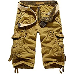 Leward Mens Casual Slim Fit Cotton Solid Multi-Pocket Cargo Camouflage Shorts (34, Khaki)