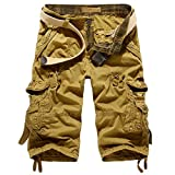 Leward Mens Casual Slim Fit Retro Cotton Solid Multi-Pocket Cargo Capri Camouflage Shorts (32, Khaki)