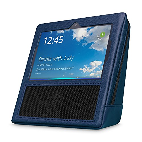 For Amazon Echo Show, Fintie Premium Vegan Leather Portable Case Bag [Full Protection] Zipper Sleeve Cover with Carrying Handle, Navy