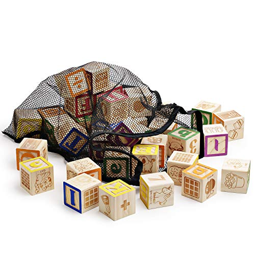 SainSmart Jr. Wooden ABC Blocks 40PCS Stacking Blocks Baby Alphabet Letters, Counting, Building Block Set with Mesh Bag for Toddlers