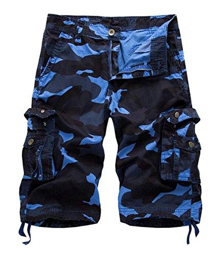 Oberora-Men Outdoor Cotton Multi-Pockets Straight Leg Rugged Cargo Camo Shorts Sky Blue 40
