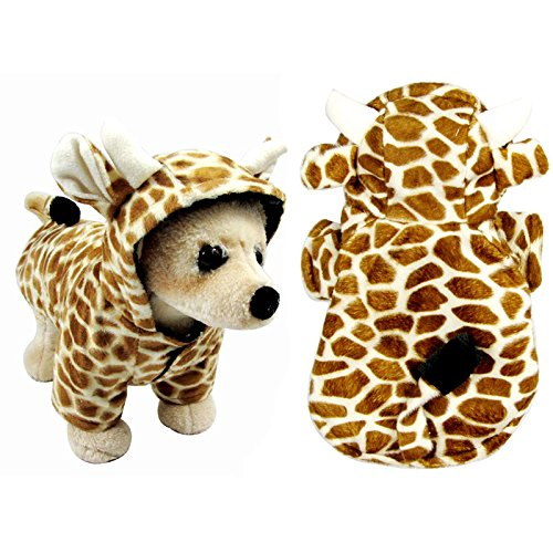 Funny Halloween Dog Giraffe Costume Outfits Clothes Winter Warm Fleece Dog Pet Cat Jacket Coat Hoodie (L, Brown) (Funny Dog Outfits)
