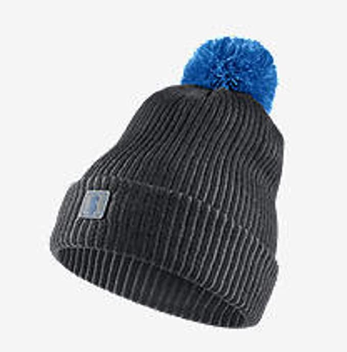 ae1ad63db085d 849448-060 Youth Boys Nike Kyrie Irving Signature Pom Anthracite Grey-Blue Hat  Beanie  Amazon.ca  Clothing   Accessories