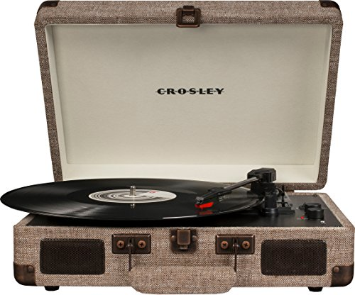 Crosley CR8005D-HA Cruiser Deluxe Portable 3-Speed Turntable with Bluetooth, Havana