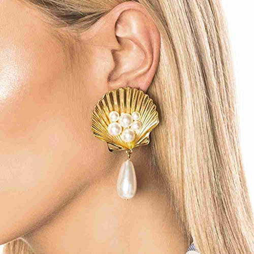 Personality Simple Pearl Shell Metal Scallop Star Earrings Ladies - Silver Scallop Sterling Shell Ring