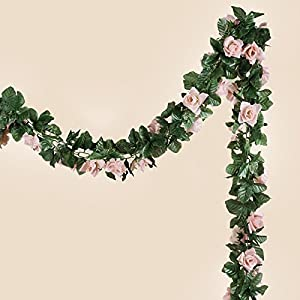 BalsaCircle 6 ft Blush 3D Chain Silk Rose Garlands - Artificial Flowers Wedding Arch Party Home Decorations Supplies 57