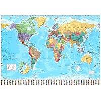Poster gigante 'Carta geografica mondiale', Dimensione: 140 x 99 cm