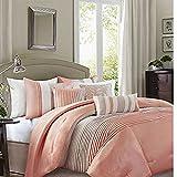 Madison Park Amherst Elegant Stylish Premium Quality Coral, 7 Piece Queen Size Comforter Set , 1 comforter, 2 shams, 1 bedskirt, and 3 decorative pillows