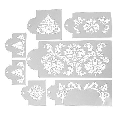 everpert 7pcs/lot plástico pastel plantilla decoración de pasteles azúcar tamiz Cake Mold Stencil: Amazon.es: Hogar