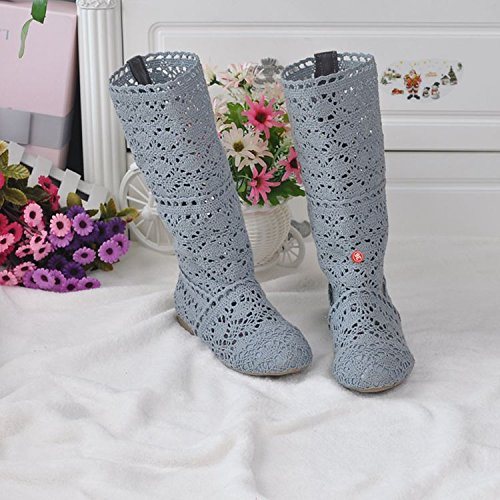 Donna Affascinante Sandali Traspirante Estive Stivali Grigio Ricamo Stivali Elegante ORANDESIGNE vx1qUdOwv