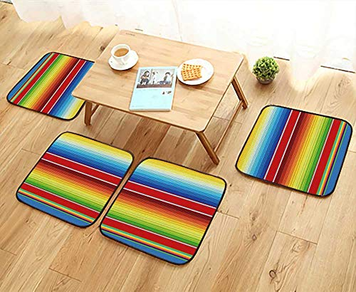 UHOO2018 Modern Chair Cushions Mexican Serape Blanket Vector Convenient Safety and Hygiene W23.5 x L23.5/4PCS Set by UHOO2018