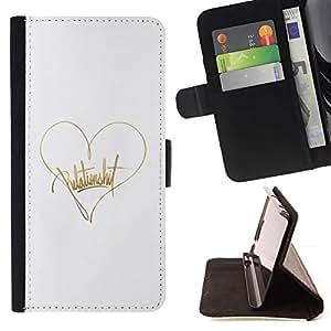 For Apple (4.7 inches!!!) iPhone 6 / 6S Case , Texto Corazón Oro Blanco Amor de autógrafos- la tarjeta de Crédito Slots PU Funda de cuero Monedero caso cubierta de piel