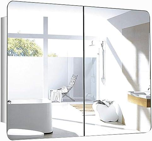Mueble de baño de Doble Puerta, Armario de baño de Acero Inoxidable con Espejo, diseño de Puerta corredera (Color : B, Size : 80 * 60 * 13CM): Amazon.es: Hogar