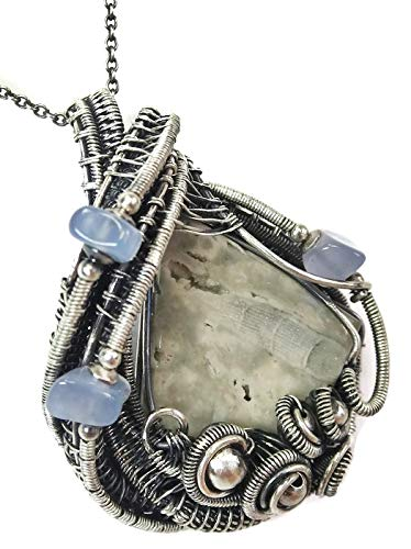 (Worm Fossil Wire-Wrapped Necklace in Sterling Silver with Holly Blue Agate & Artist Certificate of)