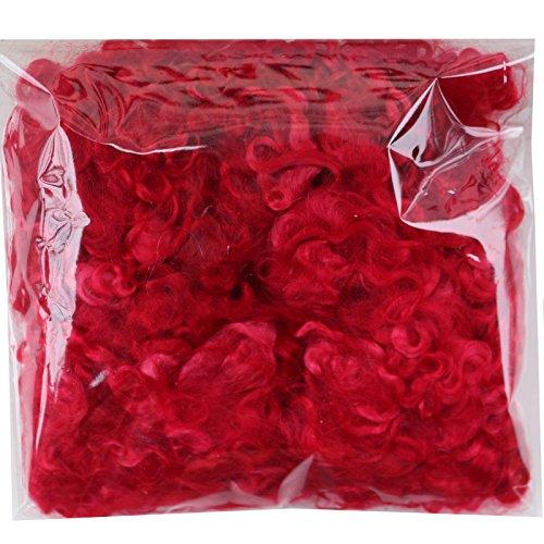 Mohair Fiber - Real Mohair Wool Locks, Organic Hand Dyed Fiber for Felting, Blending, Spinning, Knitting, Doll Hair and Embellishments. 1 Ounce Red