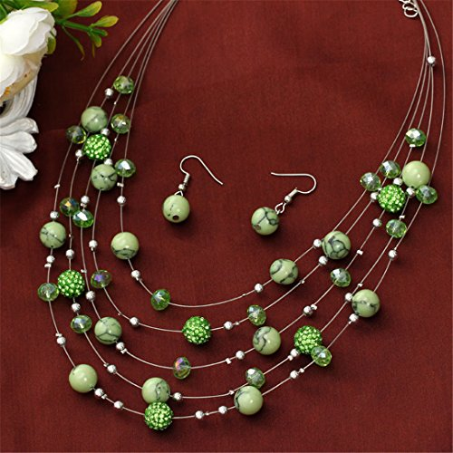 - Artificial Coral Jewelry Sets Red Earrings Set Shambhala Beads Natural Stone Necklace Collares Layers Choker Jewelry Set Rhodium Plated