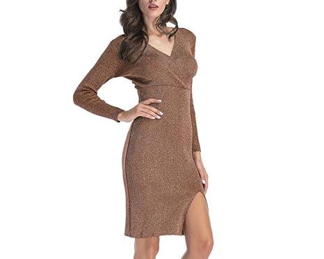 1fc35768fc65 Shengdilu Oyza9pe Women s Knit Wear Long Sleeves Bodycon Dresses Sexy V  Neck Work Office Dresses Khaki