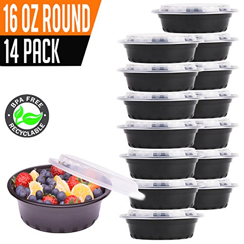 Round Bento Box (14 Pack- Chefible 16 oz Small MINI Round Storage or Bento Container, Meal Prep, Durable, BPA-free, Reusable, Washable, Microwavable, Perfect for Portion Control!)