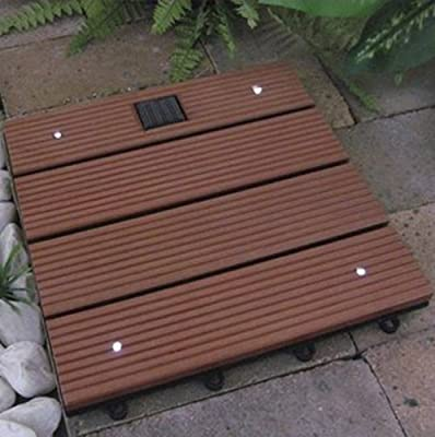 Redwood-Color Solar Decking Tile with 4 Bright White LEDs