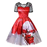 St.Dona Women's Short Sleeve Christmas 3D Print Lace Party Swing Dress Elegant Christmas Costumes Holiday Party